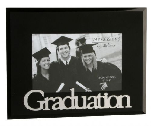 6″ x 4″ Black Glass Graduation Frame with 3D letters